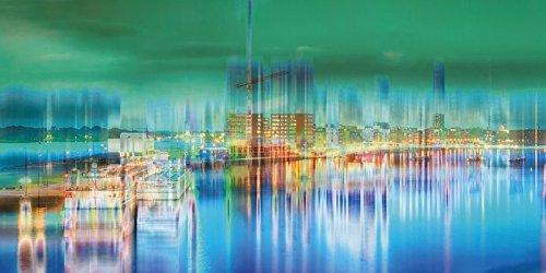 ndbild Deco Glass Tanja Riedel Amsterdam Hafen Digital Art Architektur Gebäude Sehenswürdigkeiten Digitale Kunst Bunt C7XS (Float Dekorationen Ideen)