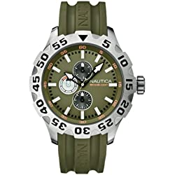 Nautica Men's Quartz Watch with Green Dial Chronograph Display and Green Resin Strap A15608G