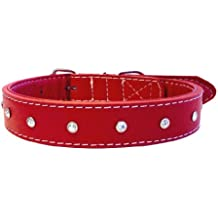 The Paws Diamante Leather Collar, S, 40 cm, Red