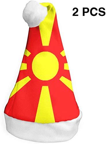 Qinckon Macedonia Flag (2 Pack) Christmas Hat Christmas Santa Hats S -