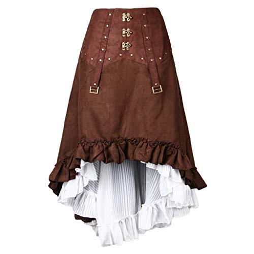 Baoblaze Gothic Womens Steampunk Rock Retro Asymmetrisch High Low Kleid Kostüm - Braun, ()