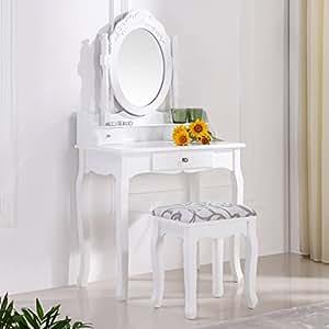 schminktisch spiegeltisch spiegel inkl sitzbank im barockstil wei 35 k che haushalt. Black Bedroom Furniture Sets. Home Design Ideas