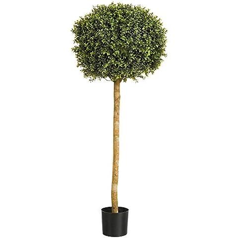 Artificial 121,92cm Buxus (boj) de jardín sola bola árbol, tronco de madera auténtica, apto para uso en exteriores.