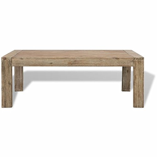 Festnight Table Basse Bois d'acacia Massif brossé 110 x 60 x 40 cm