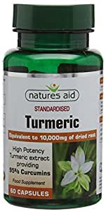 Natures Aid Turmeric Curcumin Capsules (10,000 mg, 95% Curcumins, 100% Pure Fill, 60 Capsules, Ultra Potency, No Fillers or Binders, Vegan Society Approved, Made in the UK)