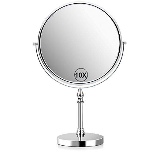 Uucolor 10x magnifying makeup mirror 20,3cm specchio da bagno 360dregree autoportante, dual sided vanity specchio per trucco rasatura, rotondo