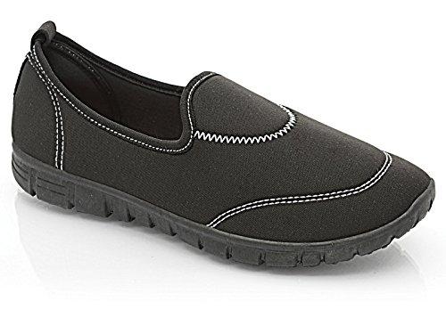 Femmes Flexi Surf Confort Chaussures Plates Décontracté Marche Chaussures Baskets Sport Vacances Go Chaussures Pointure 4-8 Noir