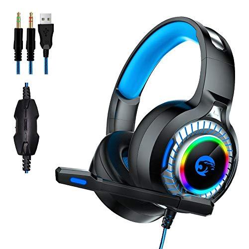 alley.L A60 Gaming-Headset, Surround-Stereo, Gaming-Kopfhörer mit Geräuschunterdrückung, Mikrofon, weiche Ohrenschützer für Xbox One/PS4/Switch/PC/Mac -