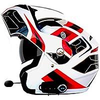 Multi-Función Motocicleta Bluetooth Casco Eléctrico Moto Doble Lente Cara Abierta Casco Hombres Y Mujeres Al Aire Libre Montar Casco Completo Cara,A,XL