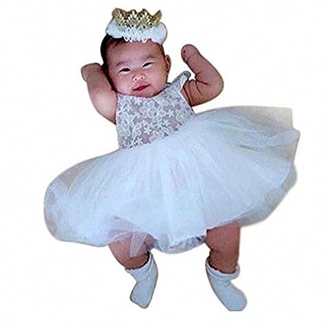 For 0-2 Years old Babies' Dress, Manadlian Baby Girls White Backless Lace Gauze Layered Tulle Tutu Princess Dress (White,