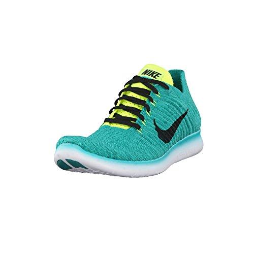 Nike Uomo Free Rn Flyknit Scarpe Running Verde (Clear Jade / Black-Volt-Rio Teal)