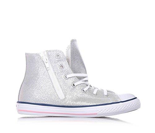 Converse Chuck Taylor Hi Side Zip Canvas bambina, pelle, sneaker alta White/Silver