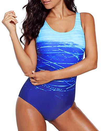 n Badeanzug Einteiler Strappy Floral Print Bademode V-Ausschnitt Hoher Beinausschnitt Badeanzug Slimming Monokini - Blau - Medium (38-40) ()