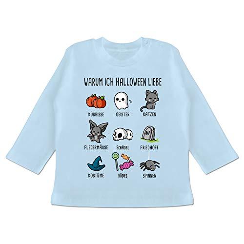 Anlässe Baby - Warum ich Halloween Liebe - 18-24 Monate - Babyblau - BZ11 - Baby T-Shirt ()