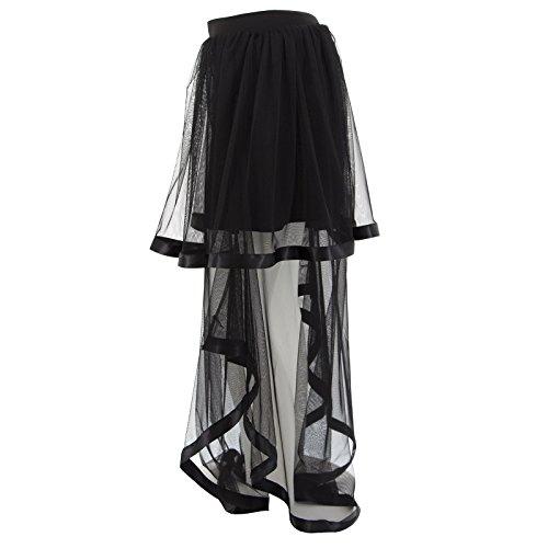 Verschleierte Frau lange Rock-Tulle-elegantes schwarzes Transparent New Ceremony Schwarz