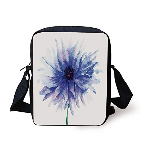 Petite Satchel Handtasche (Watercolor Flower,Faded Single Large Petite Cornflower on Plain Background Mother Earth Paint,Navy White Print Kids Crossbody Messenger Bag Purse)