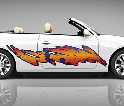 2x Seitendekor 3D Autoaufkleber orange Streifen Digitaldruck Seite Auto Tuning bunt Aufkleber Rennstreifen Seitenstreifen Dekor Racing Autofolie Car Wrapping Motorrad LKW Decals Sticker Tribal Seitentribal CW005 Airbrush Carwrap, Größe LxB:ca. 80x20cm