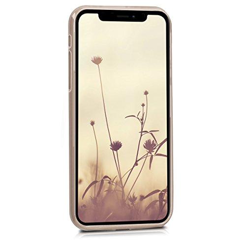 kwmobile Cover per Apple iPhone X - Custodia in silicone TPU - Back case protezione posteriore per cellulare rosso scuro metallizzato .beige opaco