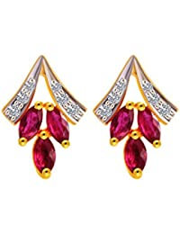 P. C. Chandra Jewellers 18 KT Yellow Gold Diamond And Ruby Clip-On Earring For Women