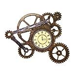LYXPUZI Loft Industrial Viento Engranaje Reloj de Pared Pared Antigua decoración de la Pared Bar decoración Reloj