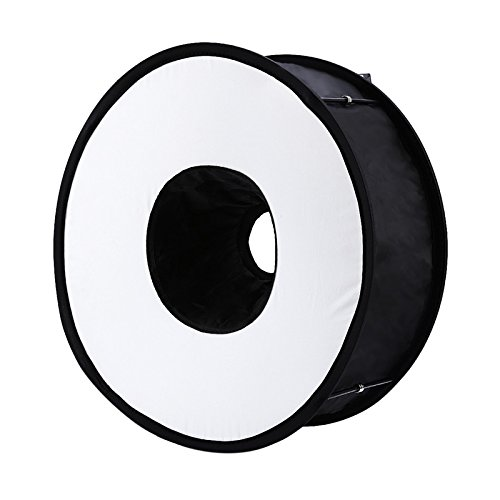 SODIAL 45cm Faltbarer Ring Speedlite Blitz Diffusor Makroaufnahme Runde Softbox Fuer Canon Nikon Sony Pentax Godox Blitzgeraet