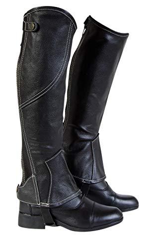 Equipage Beinchaps Bilbao aus Leder schwarz, Gr. L Minichaps Lederchaps Reitchaps Reitletten