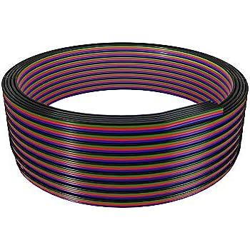 BTF-LIGHTING 18AWG LED C/âble de ruban lumineux C/âble dextension RVB Connexion 4 broches liaison 32,8 ft//10m Ligne de c/âble /à 4 conducteurs pour changement de couleur
