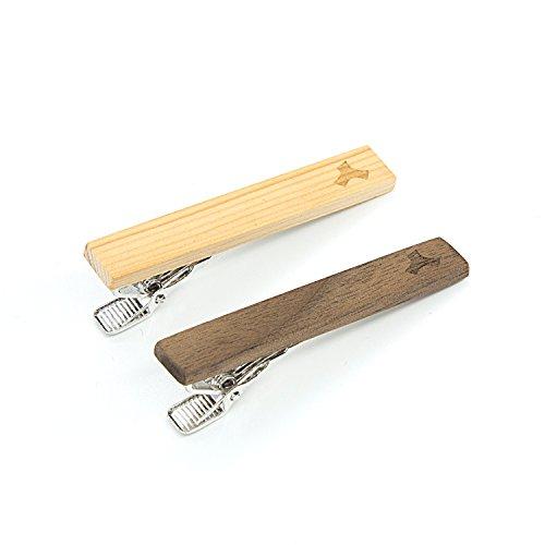 LEAPCOVER Holz Skinny Krawatte Bar Clip-Set - Einzigartige Krawatte Pin Set-1,65 Zoll Krawatte Clip für Männer mit Geschenkbox (2 Packungen) (Krawatte Clip Vintage)