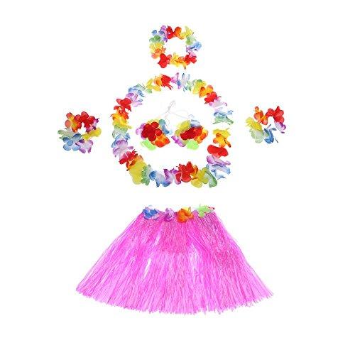 Anself 6 Teilig Hawaiian Kostüme Grass Tanzen Rock und BH Set für (Kostüme Tanzen)