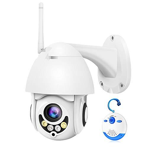 Luowice PTZ Kamera Aussen WLAN IP Überwachungskamera Kabellos 1080p 5-Fach Zoom HD-Auflösung 30M Farbe Nachtsicht mit Zweiwege Audio Bewegungserkennung und kompatibel mit Smartphones Tablets und PC