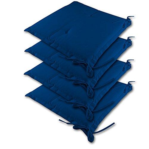 4 Stuhlauflagen Kissen Sitzkissen Stuhlkissen Sydney Hochlehner Auflage Sitzauflage ✓ 4er Set Blau Farbauswahl