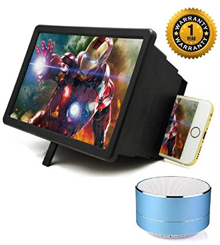 Flavo F2 Mobile Phone 3D Screen Magnifier Or Expander 3D Video Screen Amplifier & A10 Bluetooth Stereo Speaker with Calling/FM Support/USB/SD Card Support Compatible with All Android