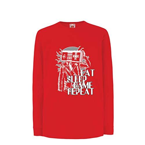 lepni.me Kinder-T-Shirt mit Langen Ärmeln Eat Sleep Game Repeat - Videospiel-Liebhaber-Geschenk (14-15 Years Rot Mehrfarben)