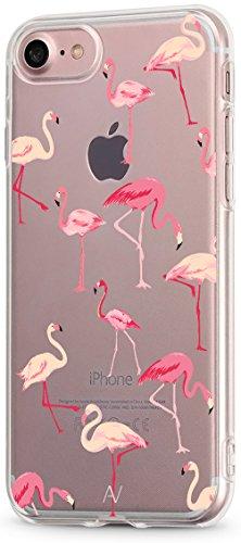 iPhone 7 / iPhone 8 Hülle AVANA® Schutzhülle Flexibles Case Etui Schutz Durchsichtige Tasche Transparente Silikon + TPU Schale Apple Dünne Muster Handyhülle Clear Cover Motiv (Flamingo)