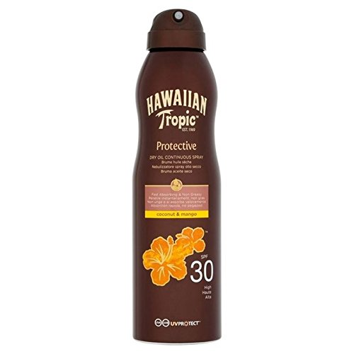 Hawaiian Tropic Oil Protection Continuous Dry Oil Spray SPF30 180 ml (Pack of 6)