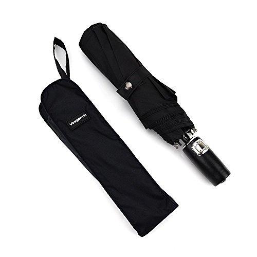 [Großer Regenschirm] Vesgantti® Regenschirm automatischer faltbarer Taschenschirm für Damen und Herrn großer Reiseschirm Klassischen Schwarz (Durchmesser:105cm)