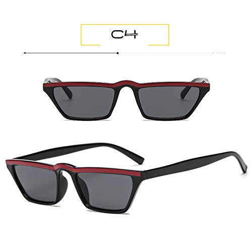 ZRTYJ Sonnenbrille Kleine rechteckige Sonnenbrille Frauen Vintage Skinny Narrow Leopard Frame 90S schicke Cat Eye Sonnenbrille Shades