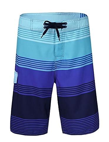 Hilor Men's s Quick Dry Swim Trunk Beach Shorts Boardshorts Striped Pattern 2 Purple 36