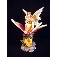Figura de adorno de flores de hada sobre diseño de mariposas para Enchanted Garden de hadas