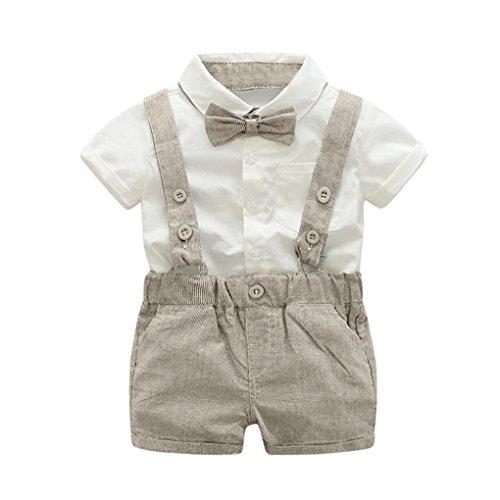 PAOLIAN Conjuntos para unisex bebé niñas Verano 2018 Camisas + Pichi Pantalones cortos + Corbata Manga Corta Boda Trajes y Blazers bebe niñas de 6 Meses 12 Meses 18 Meses 24 Meses 3 años (6M, Caqui)