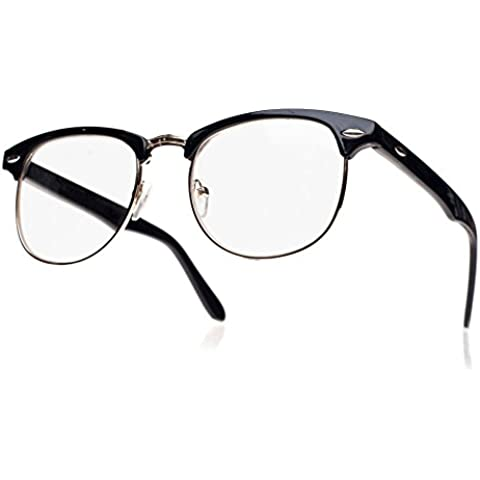 Unisex Wayfarer occhiali Uomo Dona lenti trasparenti con montatura retrò vintage nerd Festa Party …