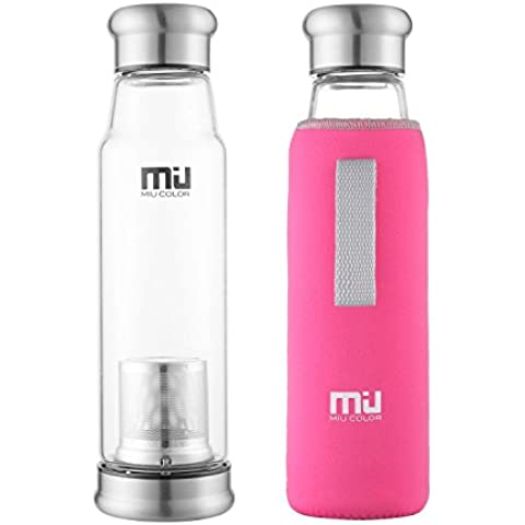 MIU COLOR Elegante Botella de cristal portátil con funda de nailon, Vidrio, rojo rosado, mit Teesieb