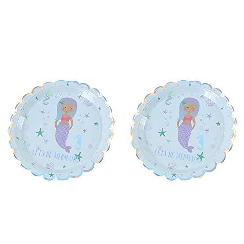 Monbedos 1 Packung Hot Silver Meerjungfrau Party Supplies Hot Silver Meerjungfrau 17,78 cm Teller Geburtstag Party Supplies Party Dekoration 1 Packung 6 Stück