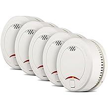 Etekcity 5er-Set Rauchmelder Rauchwarnmelder mit 10-Jahres-Lithiumbatterie für Büro/ Schlaffzimmer/ Kinderzimmer/ Wohnraum/ Flur / Diele, Weiß