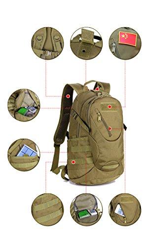 YAAGLE Bersteigen Taschen Fahrradrucksack militärische Tasche Gepäck Rucksack Schultertasche Reisetasche A4 Schultasche 20 L Damen und Herren Unisex Schwarz