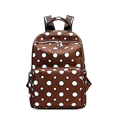 Qearly Belle Polka Dot College Fille Sacs d'école Cartable pour Étudiant Sac à Dos Backpack-Brown