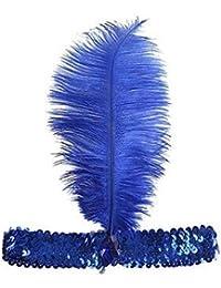 Lentejuelas Show Girl Party tocado de charlestón con pluma azul azul