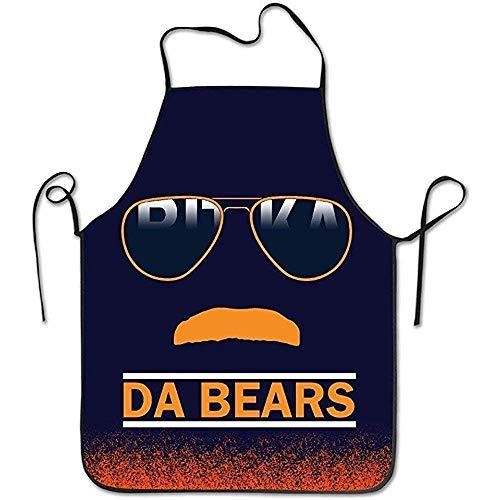 Mesllings Da Bears Chicago Windy City Schnurrbart Brille Küche Schürze für Damen und Herren Verstellbares Nackenband Restaurant Home Chef Bib Schürze für Kochen BBQ Grill Chicago Küche