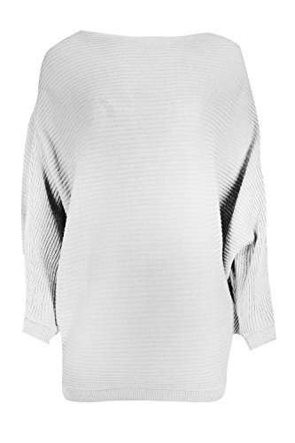 Be Jealous Damen Langärmlig Überdimensional Fledermausärmel Locker Sitzend Gerippt Strick Pullover Top Uk Größe 8-14 - Creme, S/M (UK 8/10) (Top Knit Creme)