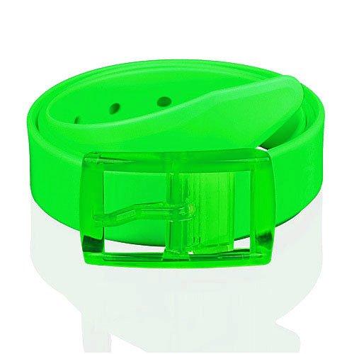 Taffstyle® Unisex Silikon Neon Gürtel kürzbar One Size für Damen / Herren - Neon Grün